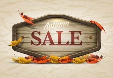 Vector realistic illustration of autumn sale wooden signboard. Elements are layered separately in vector file. stock vector