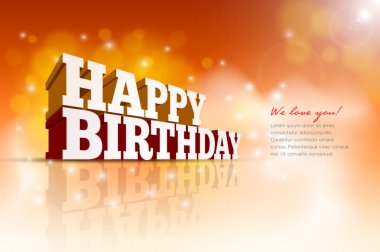 Vector 3d Happy Birthday message text. Elements are layered separately in vector file. clip art vector