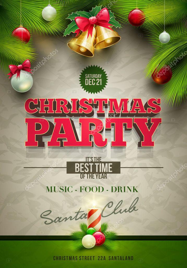 Christmas Party Poster u2014 Stock Vector u00a9 sgursozlu #35049451