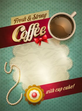 Vector cup of coffee and cakes on lace paper background with copy space for your text. View from above. clip art vector