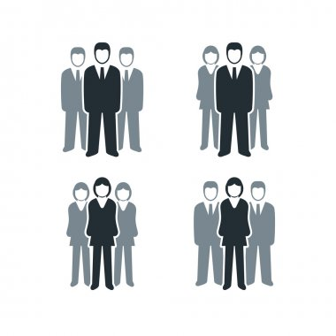 Vector isolated business people icon collection. Leadership of men and women . clip art vector