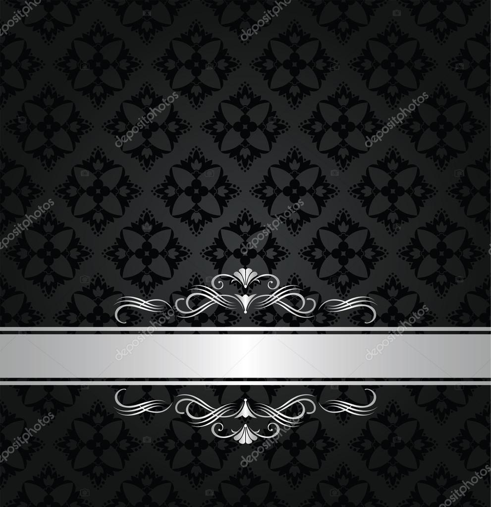 Silver banner on black floral seamless pattern — Stock ...