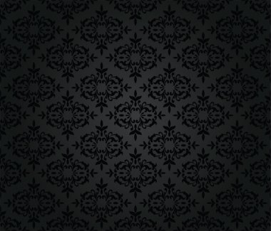 Seamless black floral damask wallpaper pattern