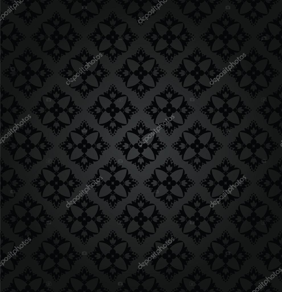 Seamless Black Floral Wallpaper Diamond Pattern Stock Vector