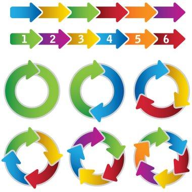 Set of vibrant circle diagrams and chart arrows