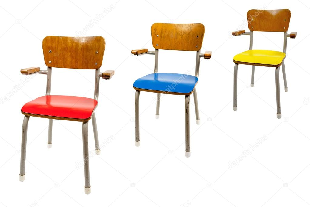 Three Old School Chairs U2014 Stock Photo