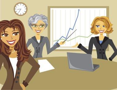 Image of Cartoon Business Women Meeting