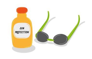 Sun oil and sun glasses
