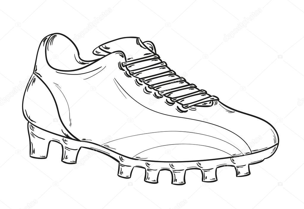 Sfondo Bianco Vettoriali Delle Scarpe Su Schizzo Di Calcio — Da 64S1Ow7nW
