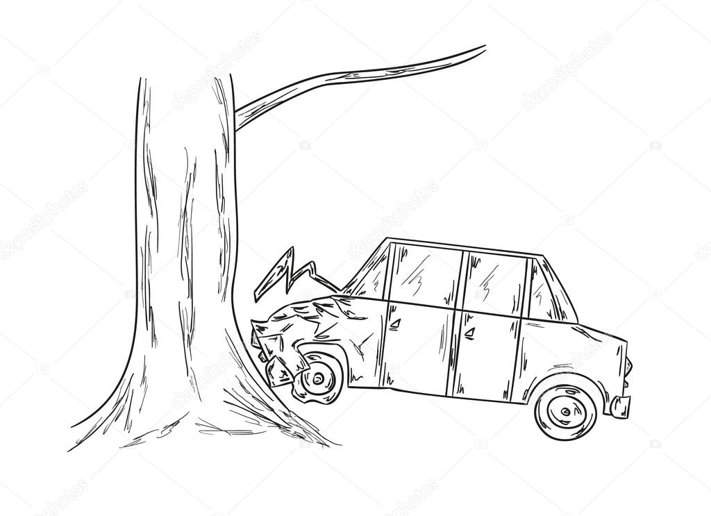 Stock Illustration Car Accident Sketch on auto accident
