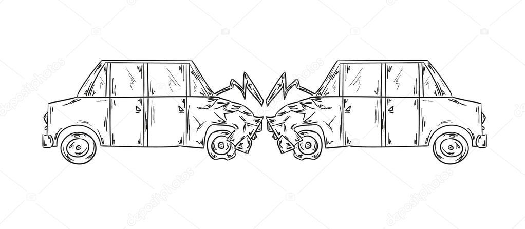 Unfall von zwei Autos sketch — Stockvektor © muuraa #45218791