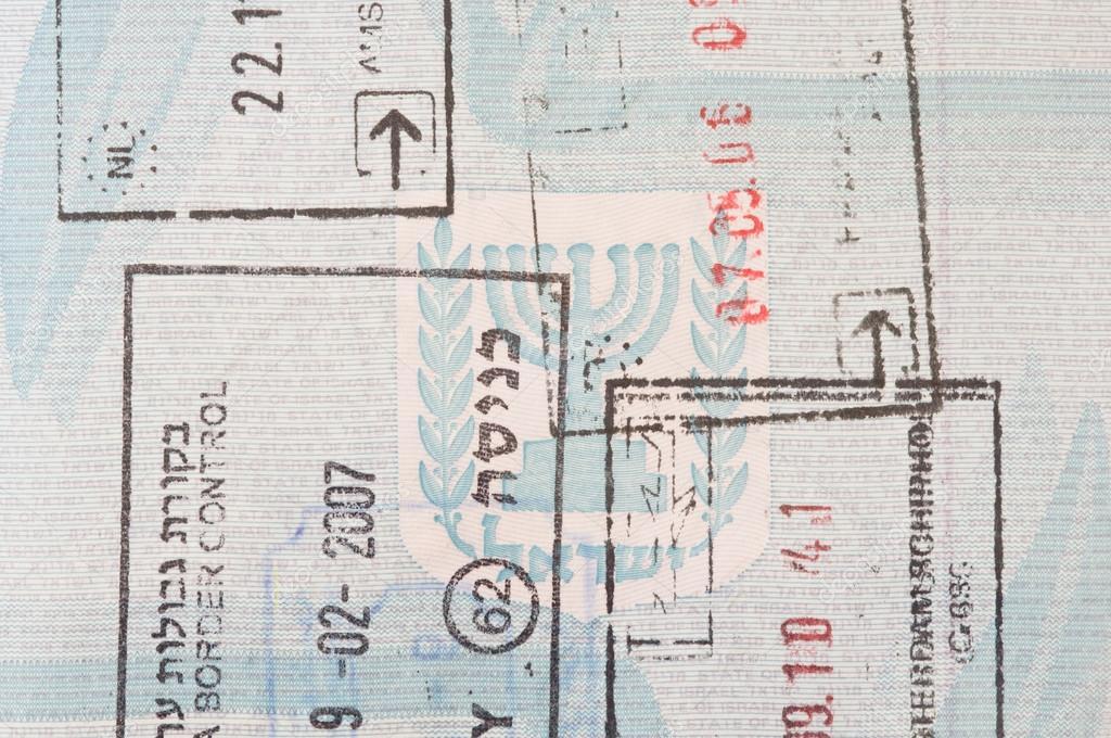 Stamps In An Israeli Passport Stock Photo