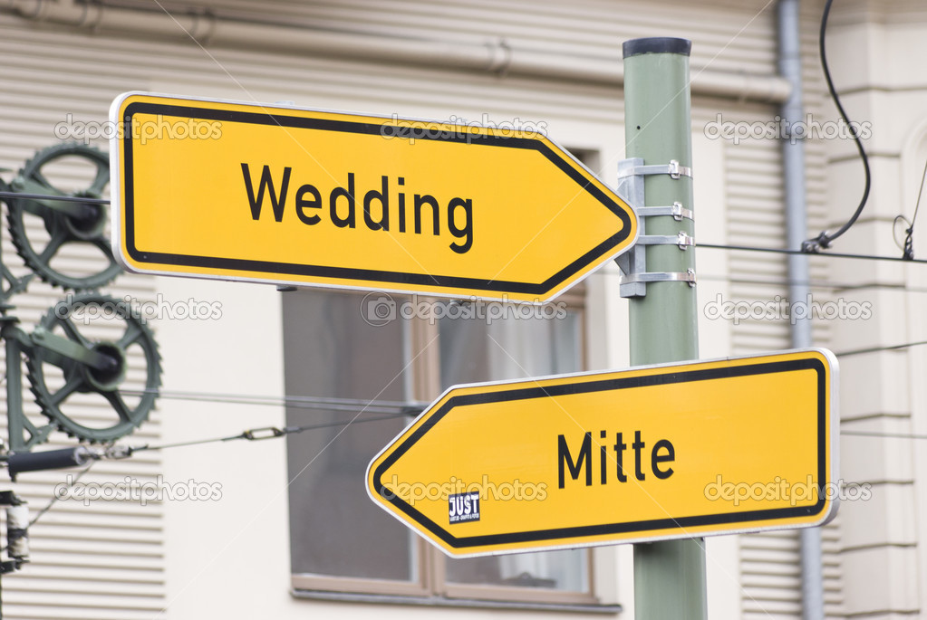 Wedding And Mitte Road Sign Stock Photo 37044819