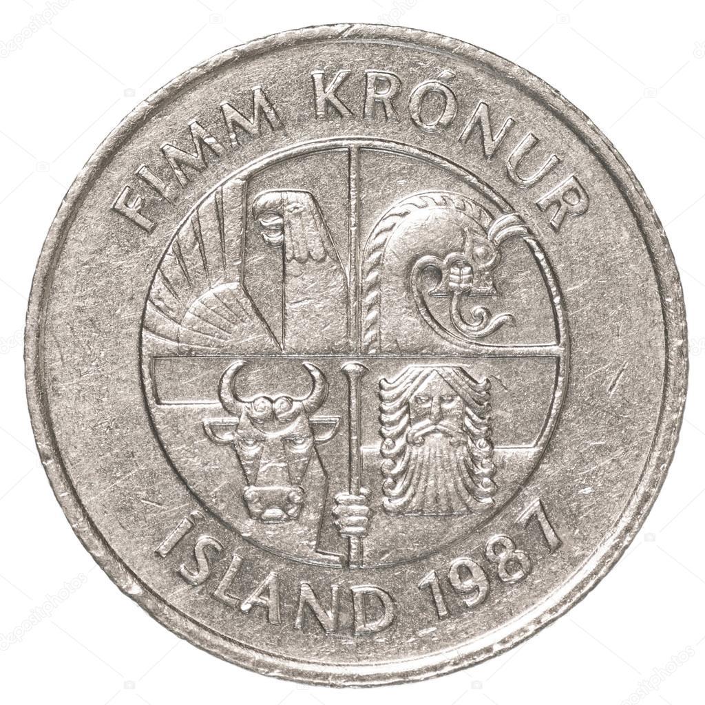 5 Isländische Krone Münze Stockfoto Asafeliason 40431223