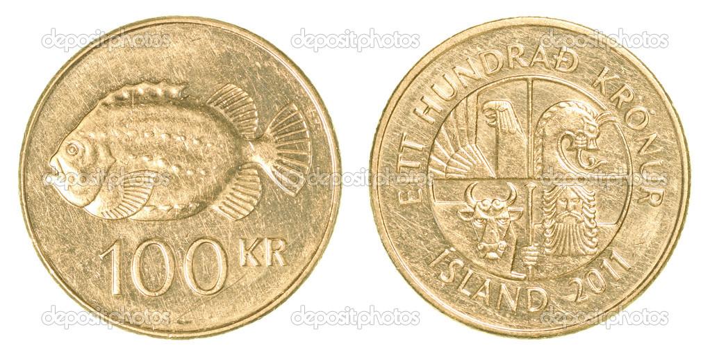 100 Isländische Krone Münze Stockfoto Asafeliason 40431969
