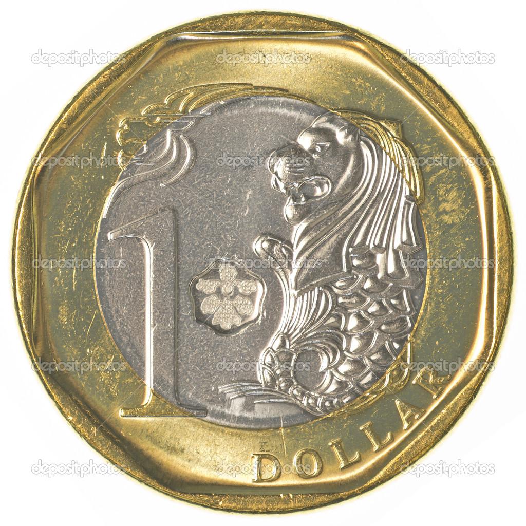 Eine Singapur Dollar Münze Stockfoto Asafeliason 40459355
