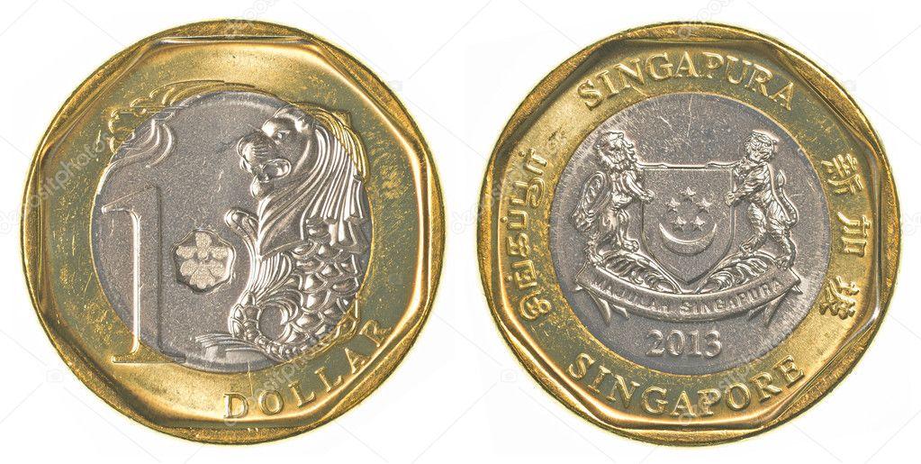 Eine Singapur Dollar Münze Stockfoto Asafeliason 40459593