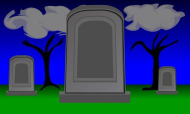 Large empty gravestone in cemetery. Two smaller gravestones are in the background. Night scene with wispy clouds and twilight sky. File is layered and pixel perfect. stock vector