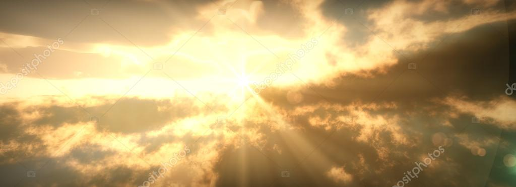Religious Background with Clouds and God rays