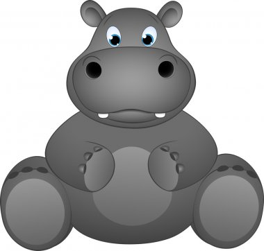 Funny illustration of a hippopotamus