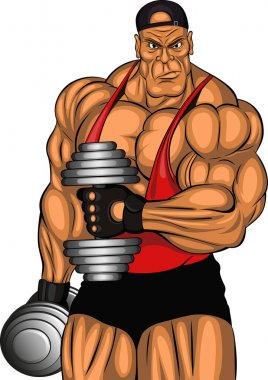 Illustration of bodybuilder with dumbbells