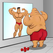 Photo Illustration: a fat man and his reflection