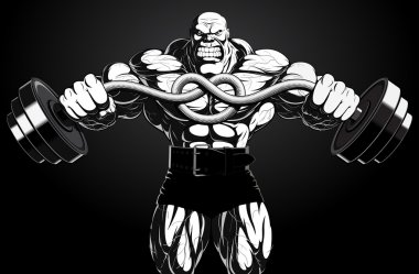 Illustration: bodybuilder with a barbell