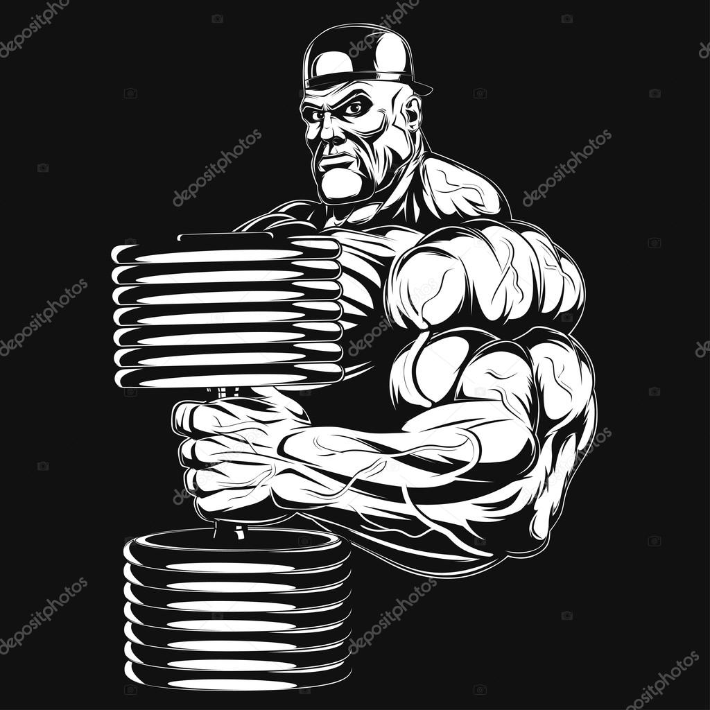 Illustration: bodybuilder with dumbbell — Stock Vector