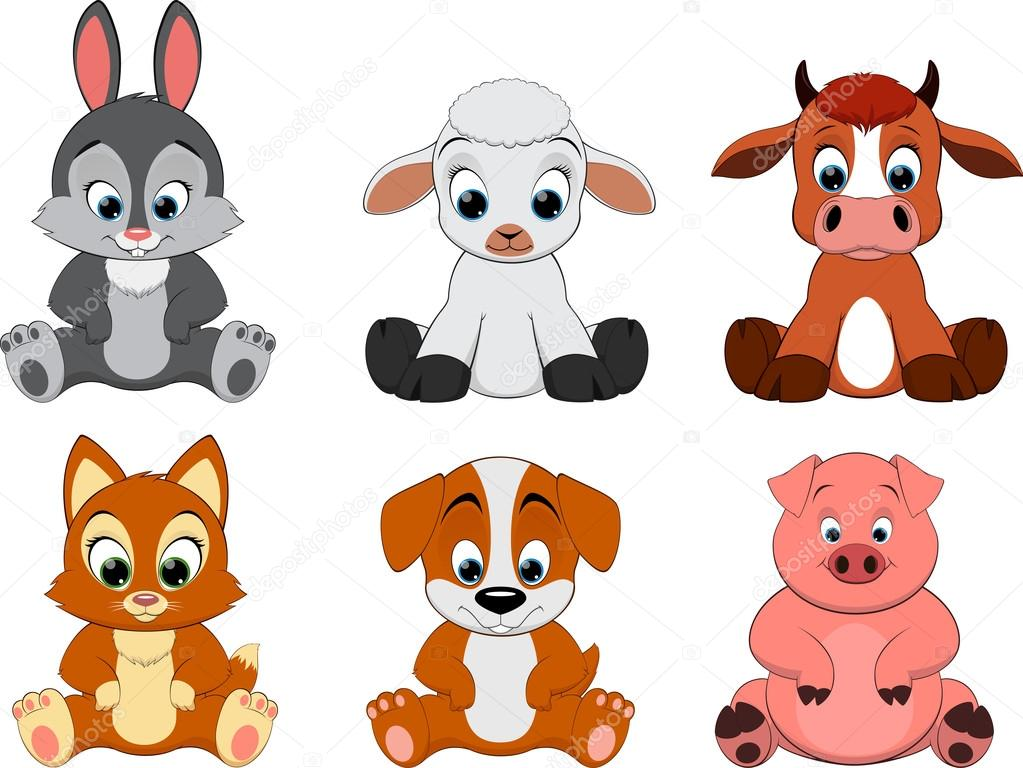 Cute Colorful Exotic Animals Collection Stock Vector