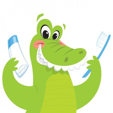 Happy crocodile holding toothbrush and toothpaste