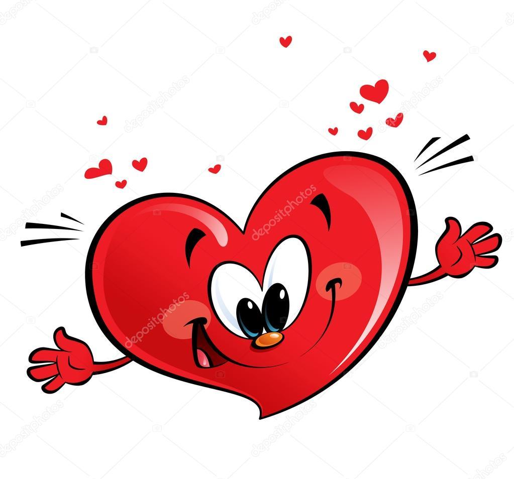 A happy heart character giving a hug