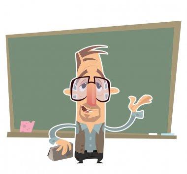 Teacher presenting in front of a blackboard