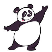 Fotografie Happy cartoon panda character presenting