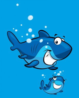 Cartoon smiling shark family