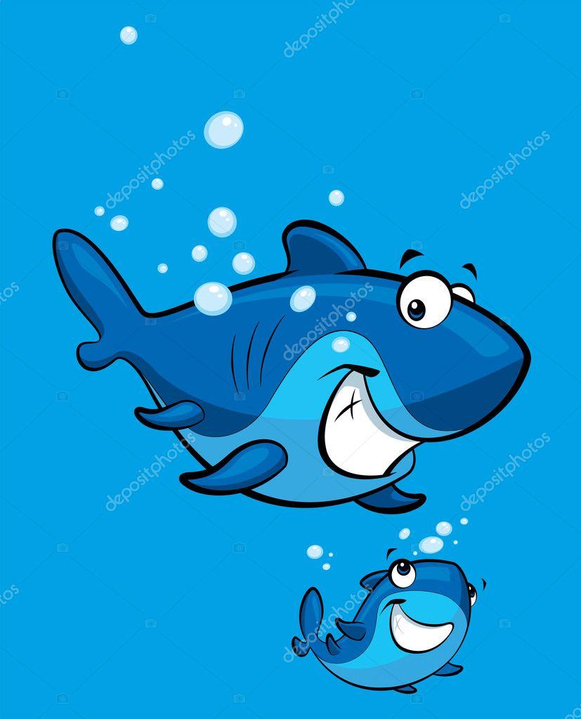 Tiburones Animados Bebes Familia Sonriente De Tiburon De La
