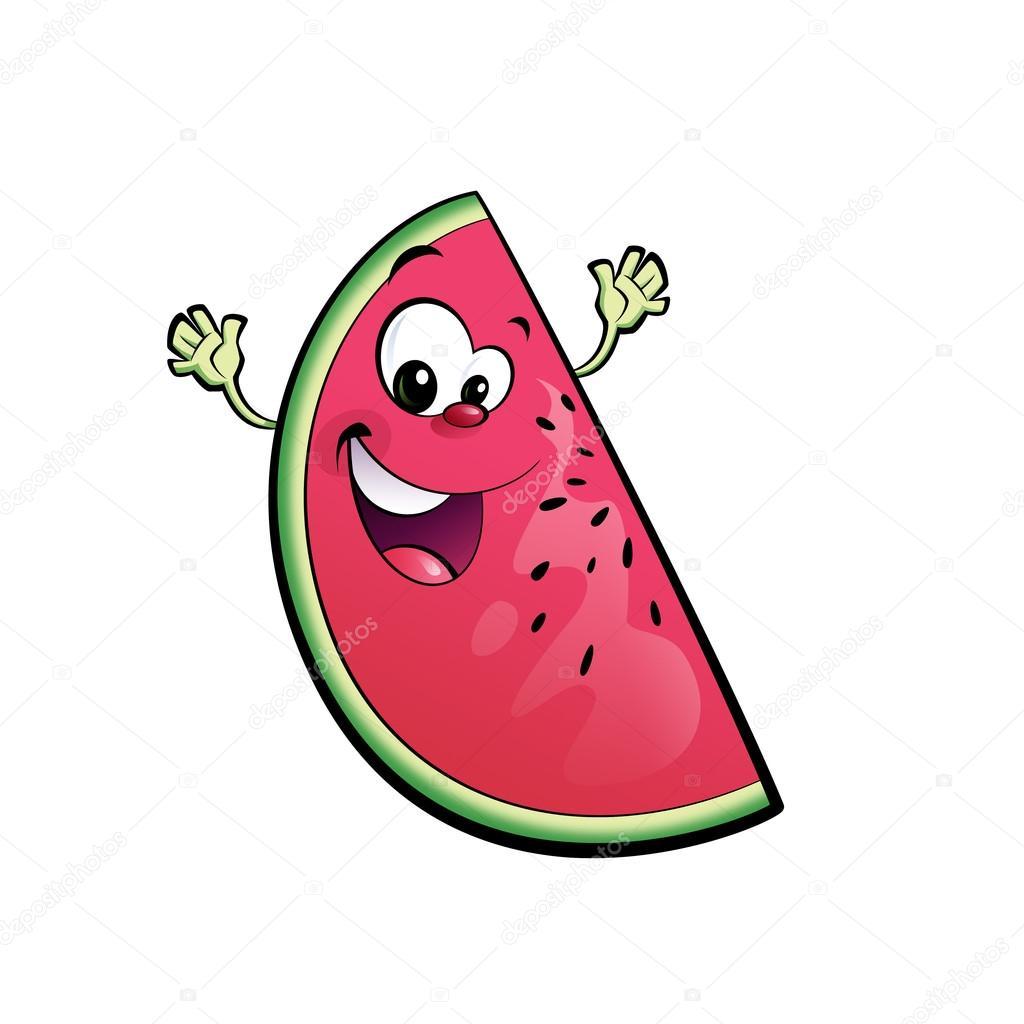 Felice cartone animato di anguria — foto stock