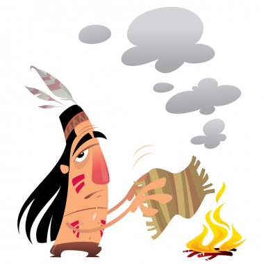 Cartoon indian man sending a message by smoke signals moving a small carpet over a fire stock vector