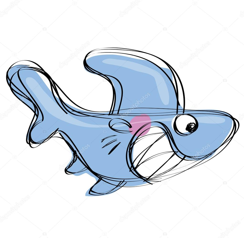 cartoon baby shark in a naif childish drawing style u2014 stock vector