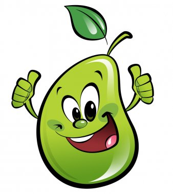 Happy cartoon pear making an ok gesture
