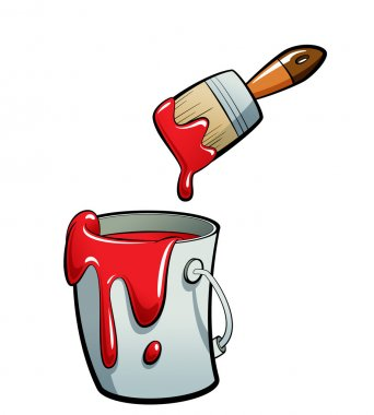 Cartoon red color paint in a paint bucket painting with paint br