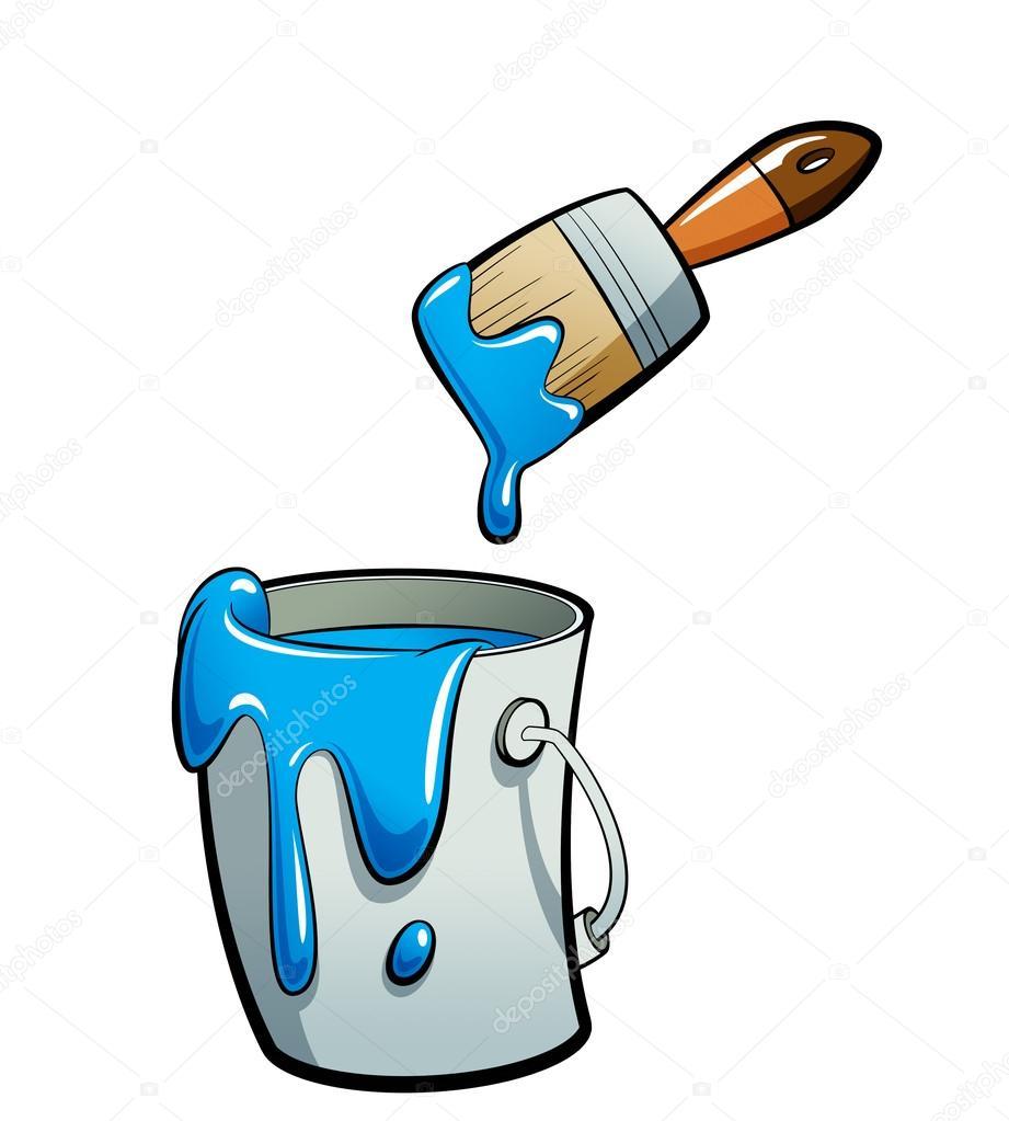 pintura del color azul de dibujos animados en un cubo de pintura ...