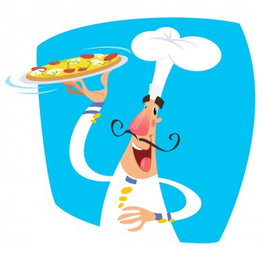 Cartoon happy smiling chef serving a pizza in a tray wearing a t