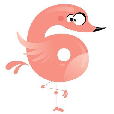 Number 6 cartoon funny pink flamingo
