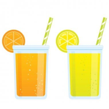 Cooling cartoon beverages cold refreshing drinks of orange and l