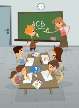 English language lesson in class , pupil learning alphabet with