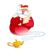 Fotografie Happy smiling cartoon genie Santa Claus coming out of a magic oi