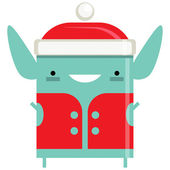 glücklich einfach lächelnd Elf Weihnachtsmann Cartoon Charakter