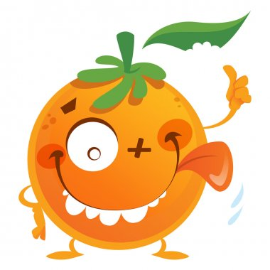 Crazy cartoon orange fruit character making a thumbs up gesture