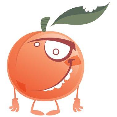 Crazy cartoon pink peach fruit character standing