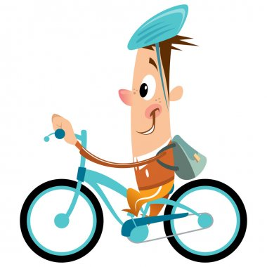 Cartoon boy with backpack and helmet riding turquoise bike smili